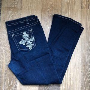 Revolt embellished plus size bootcut jeans sz 16